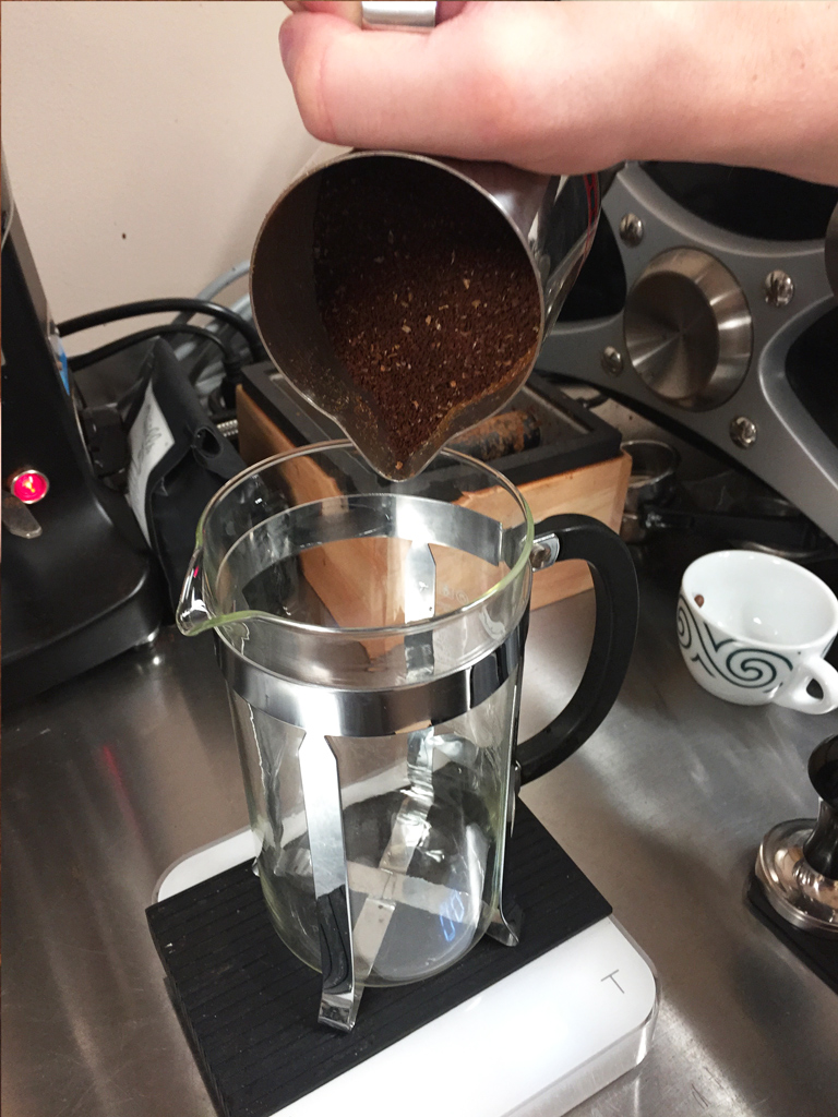 Prepping the french press for cold brew