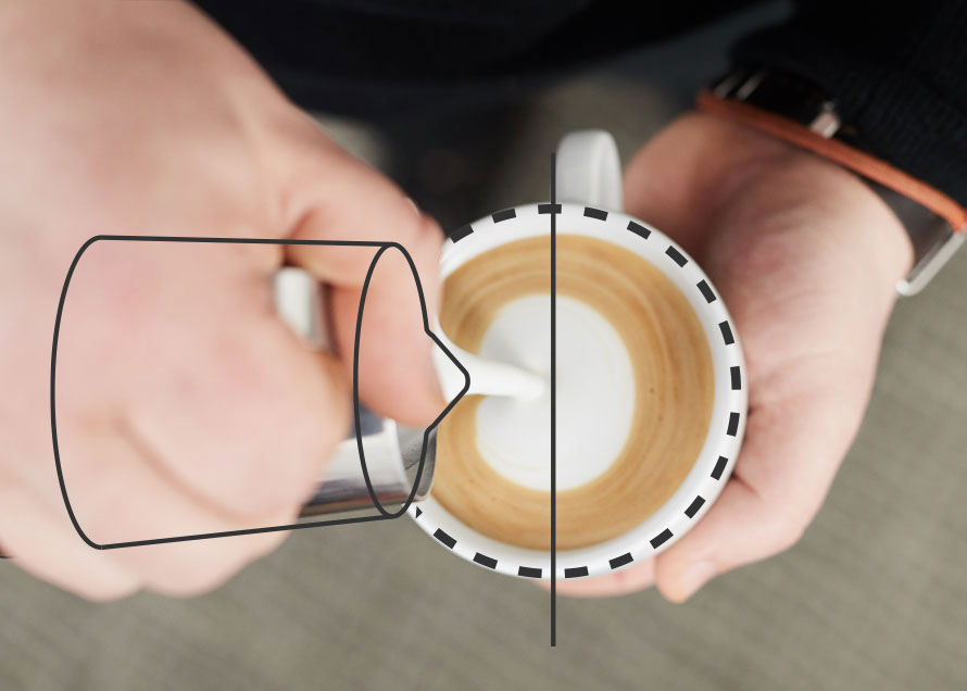 Pouring a dot with spout placement above the center of the cup