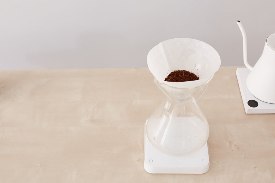 Ground coffee in a Chemex, with Acaia Pearl and Stagg EKG