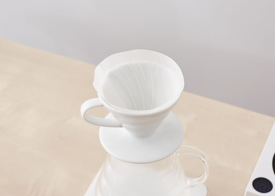 A V60 with filter, waiting to brew