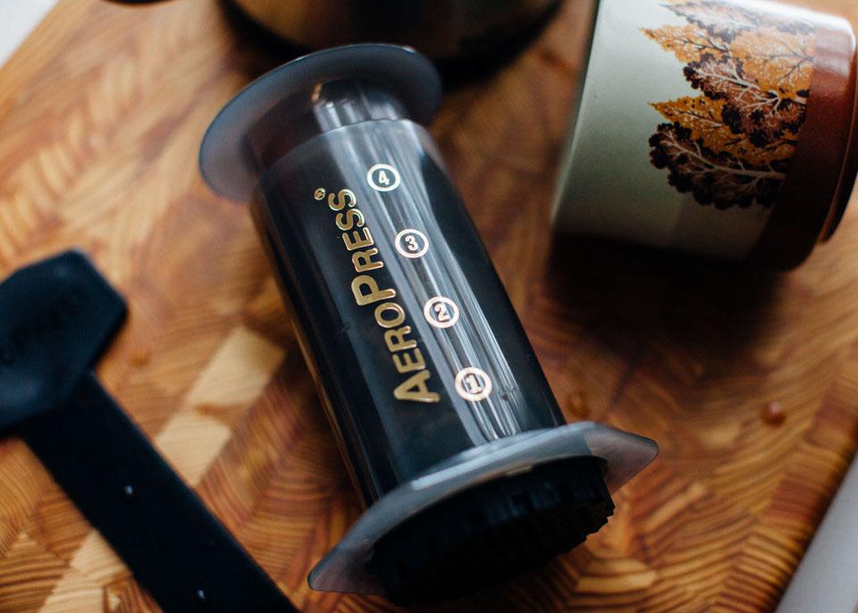 Aeropress with coffee cup