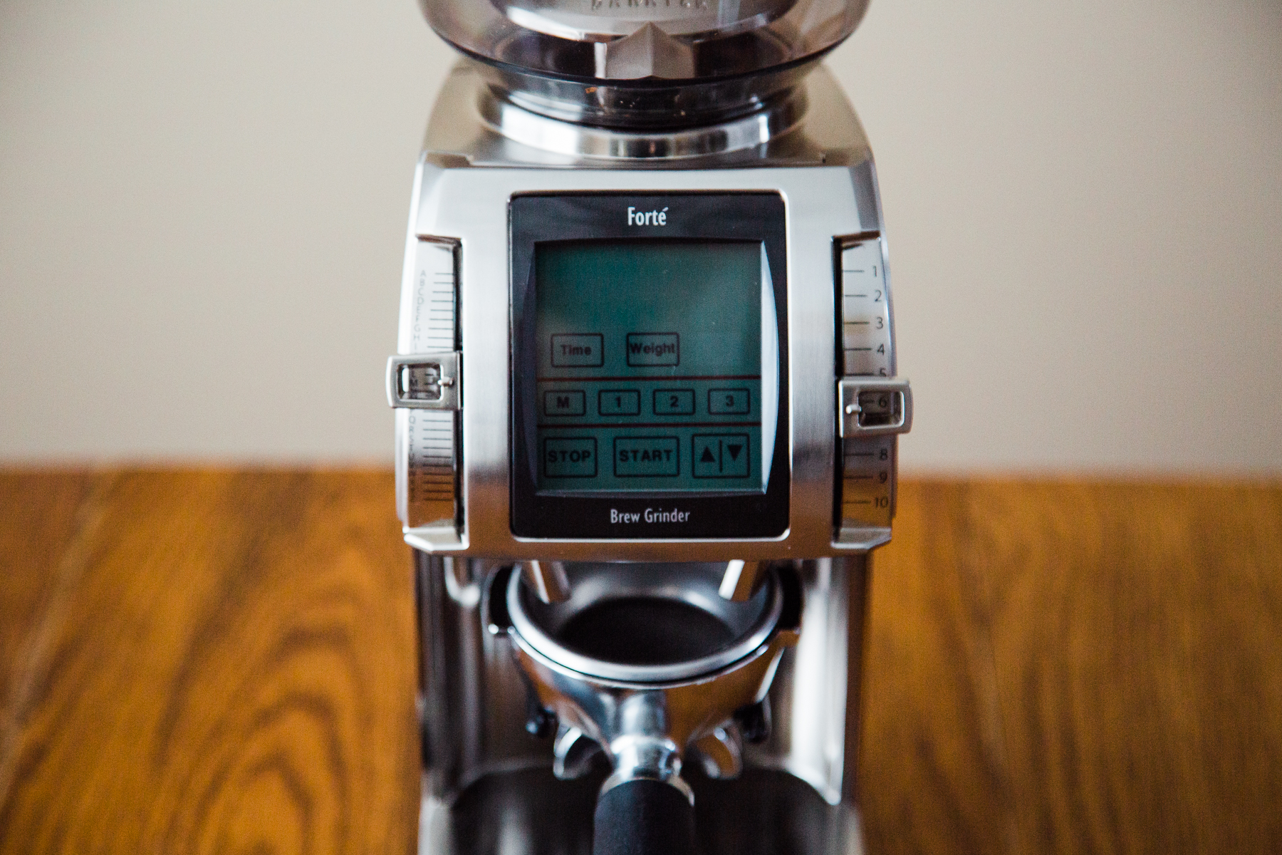 A closeup of Baratza's Forte, focusing on the touch-screen control panel.
