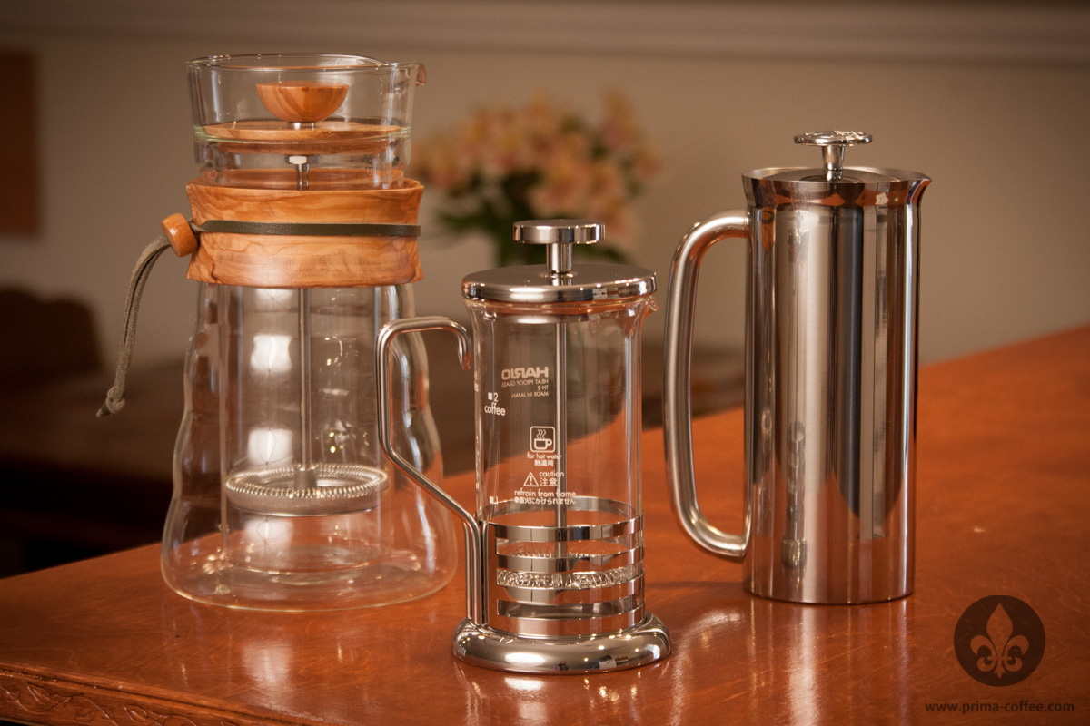 Three different french presses, from Hario and Espro