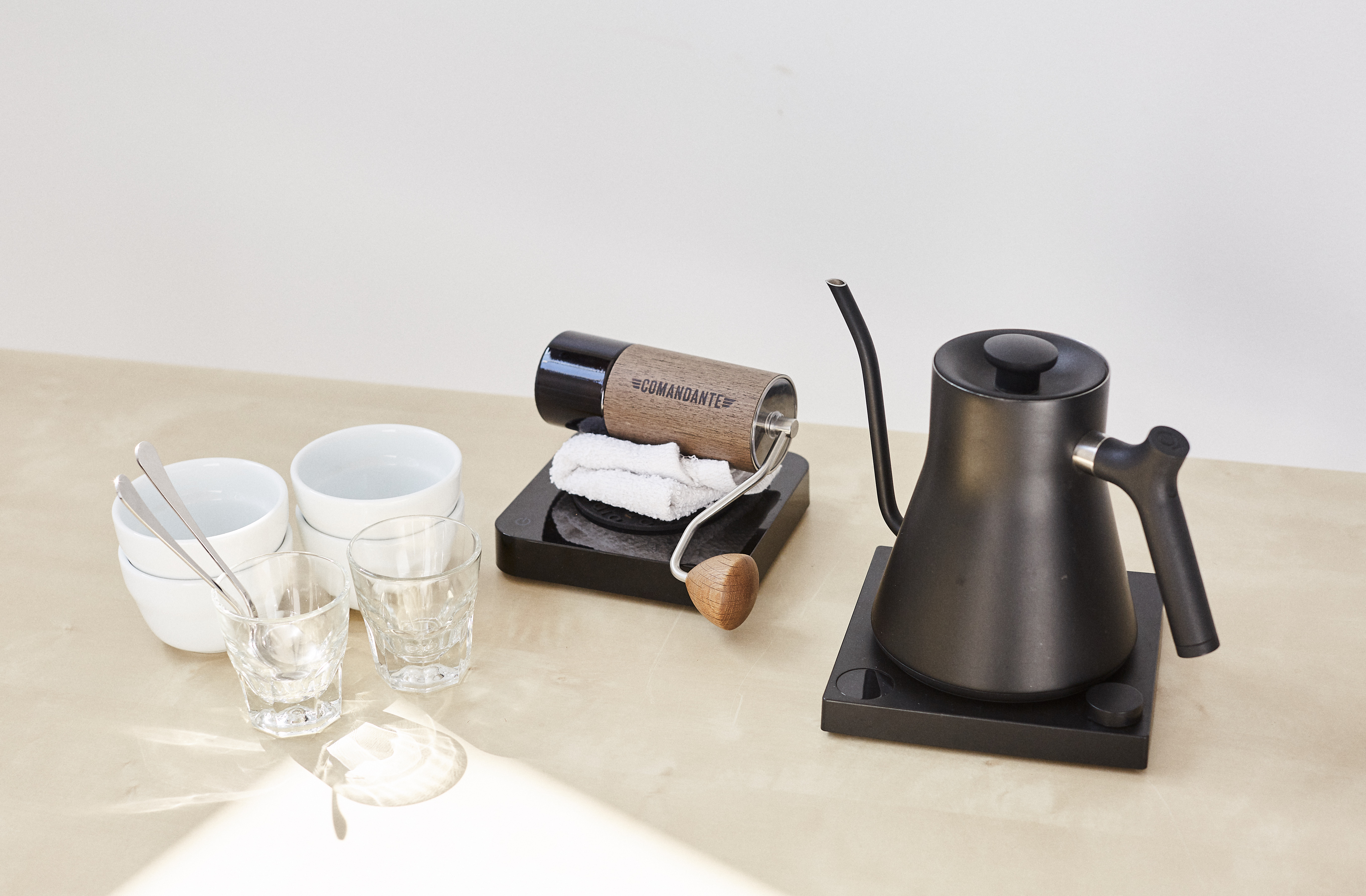 cupping bowls kettle glasses spoons and scale for cupping