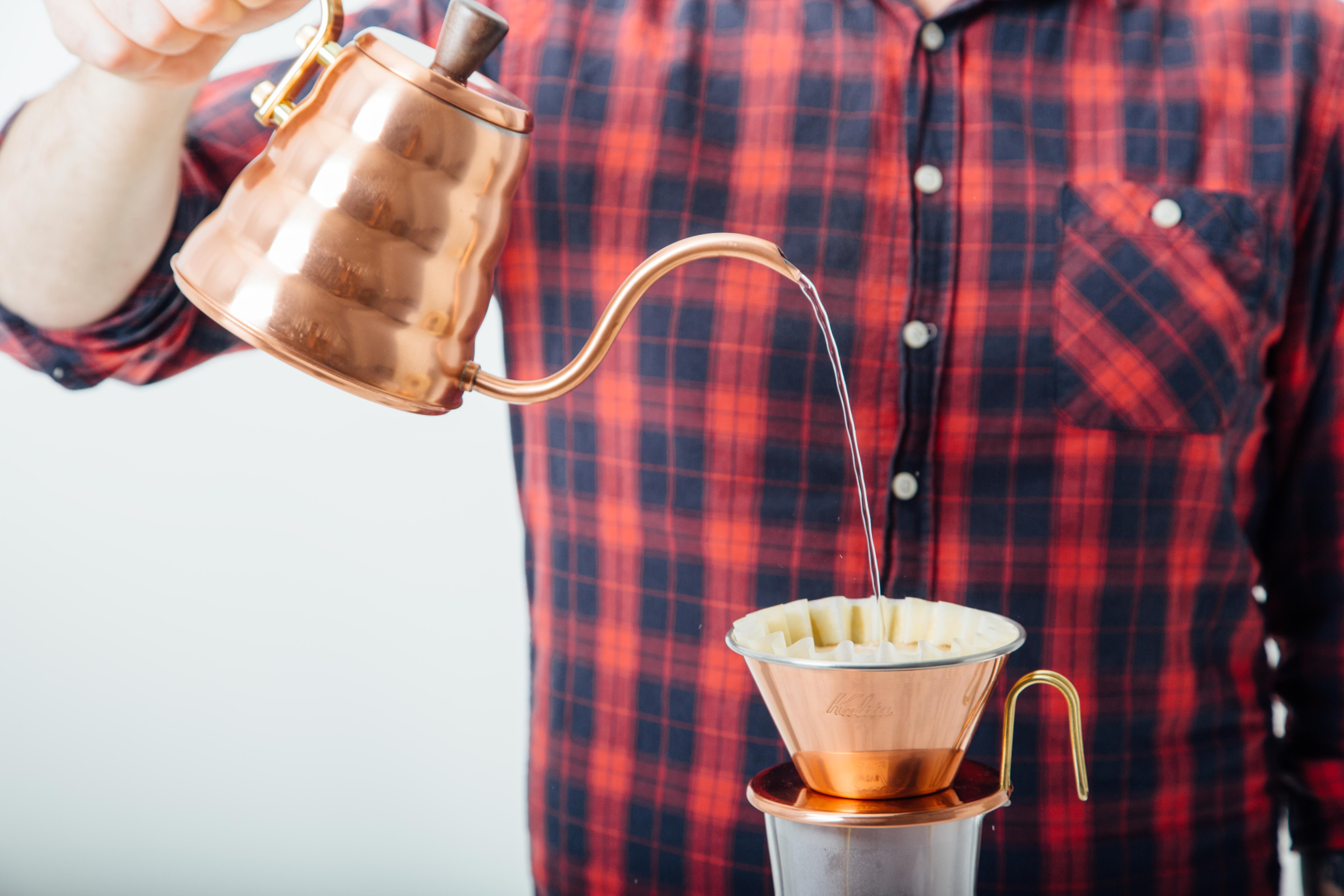 Brewing with a copper pour over set