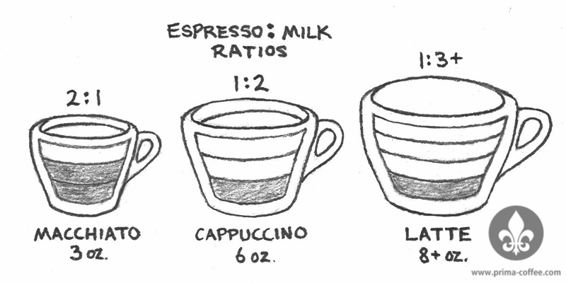 Ratios for classic cafe drinks