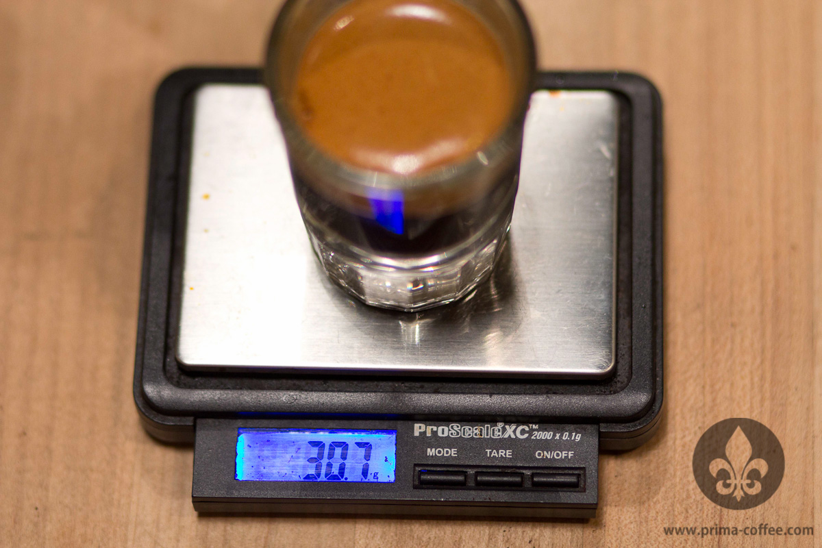 A 30g yield of espresso on a small scale