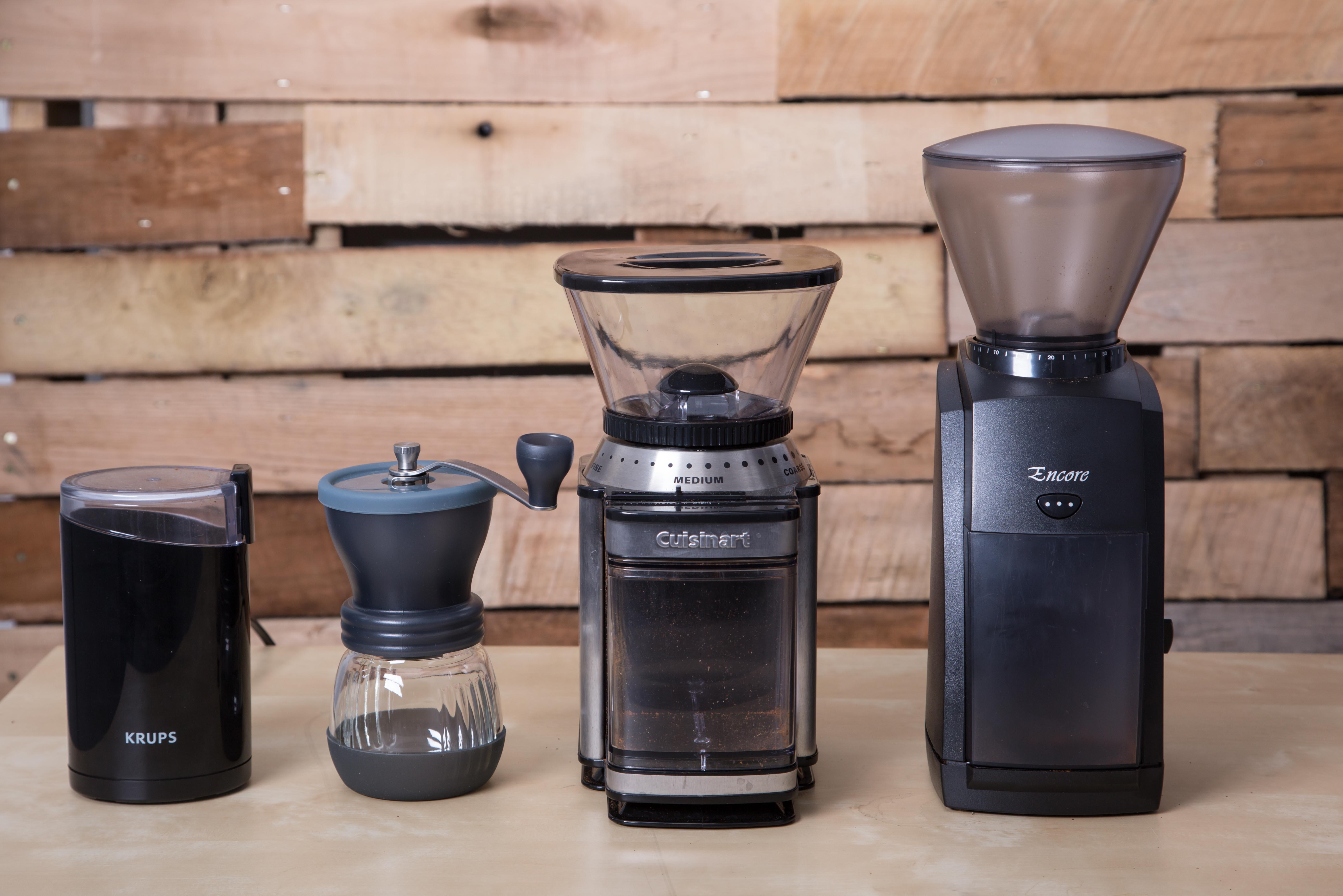 Home grinder lineup: Krups Blade Grinder, Hario Skerton, Cuisinart DBM-8, Baratza Encore.