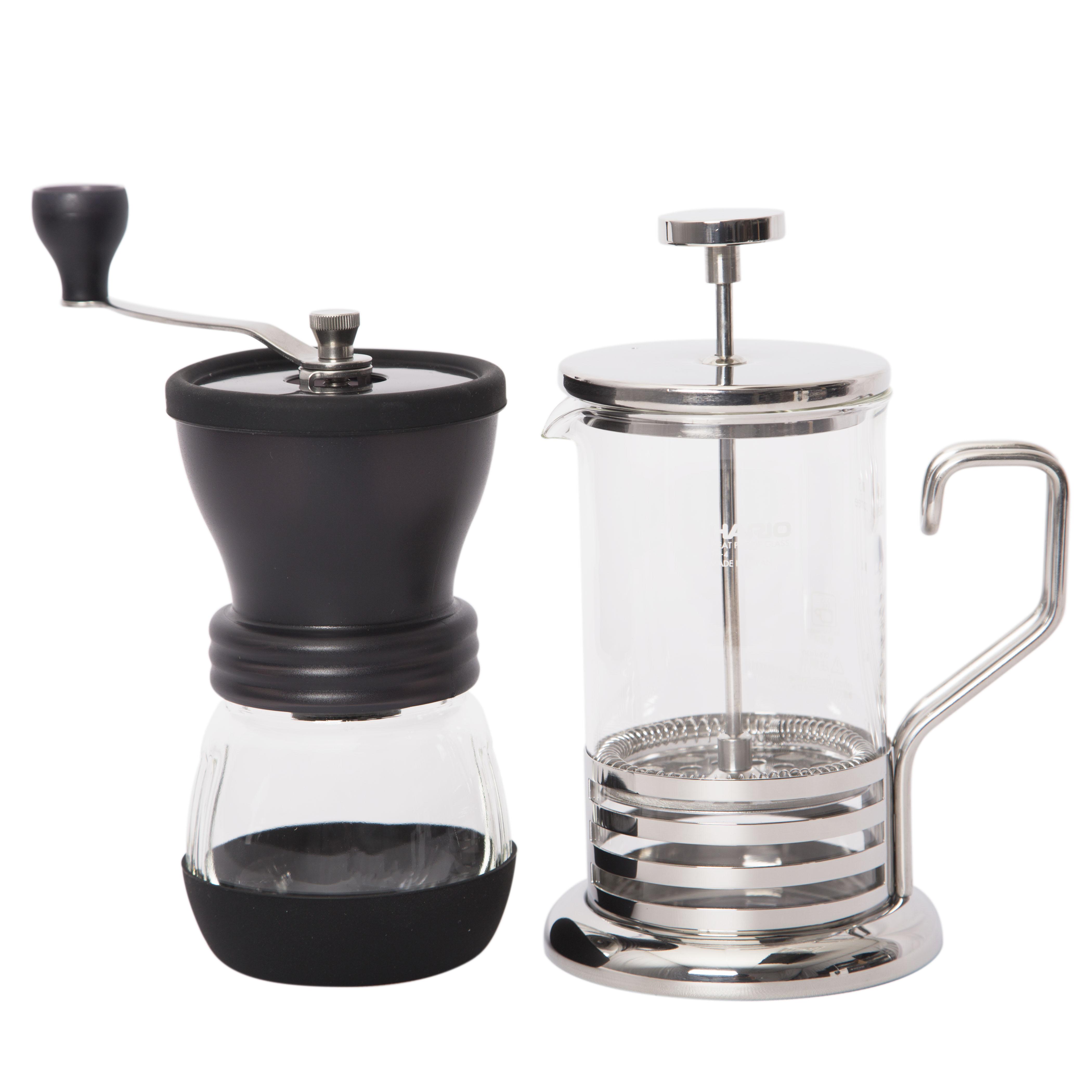 Hario Metal Coffee Press and Skerton Plus Grinder