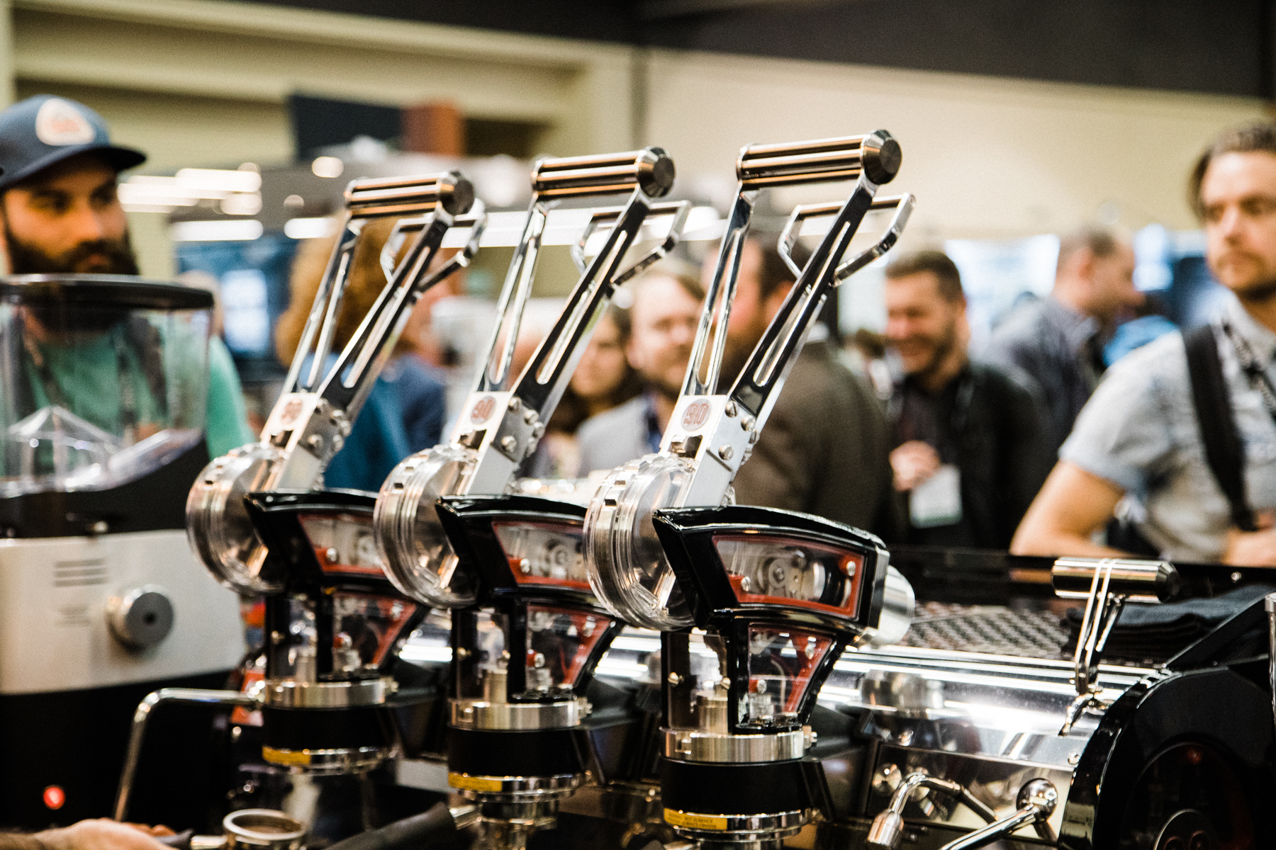 Close up of the levers on the La Marzocco Leva at the 2018 Coffee Expo.