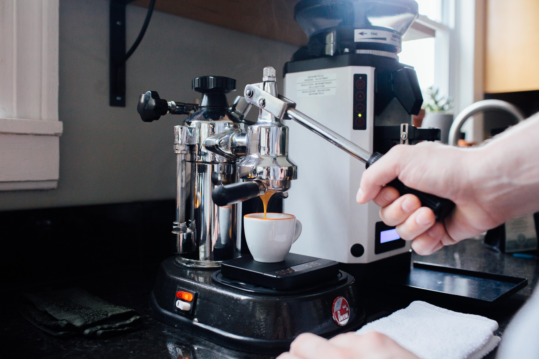 Combine espresso and ice