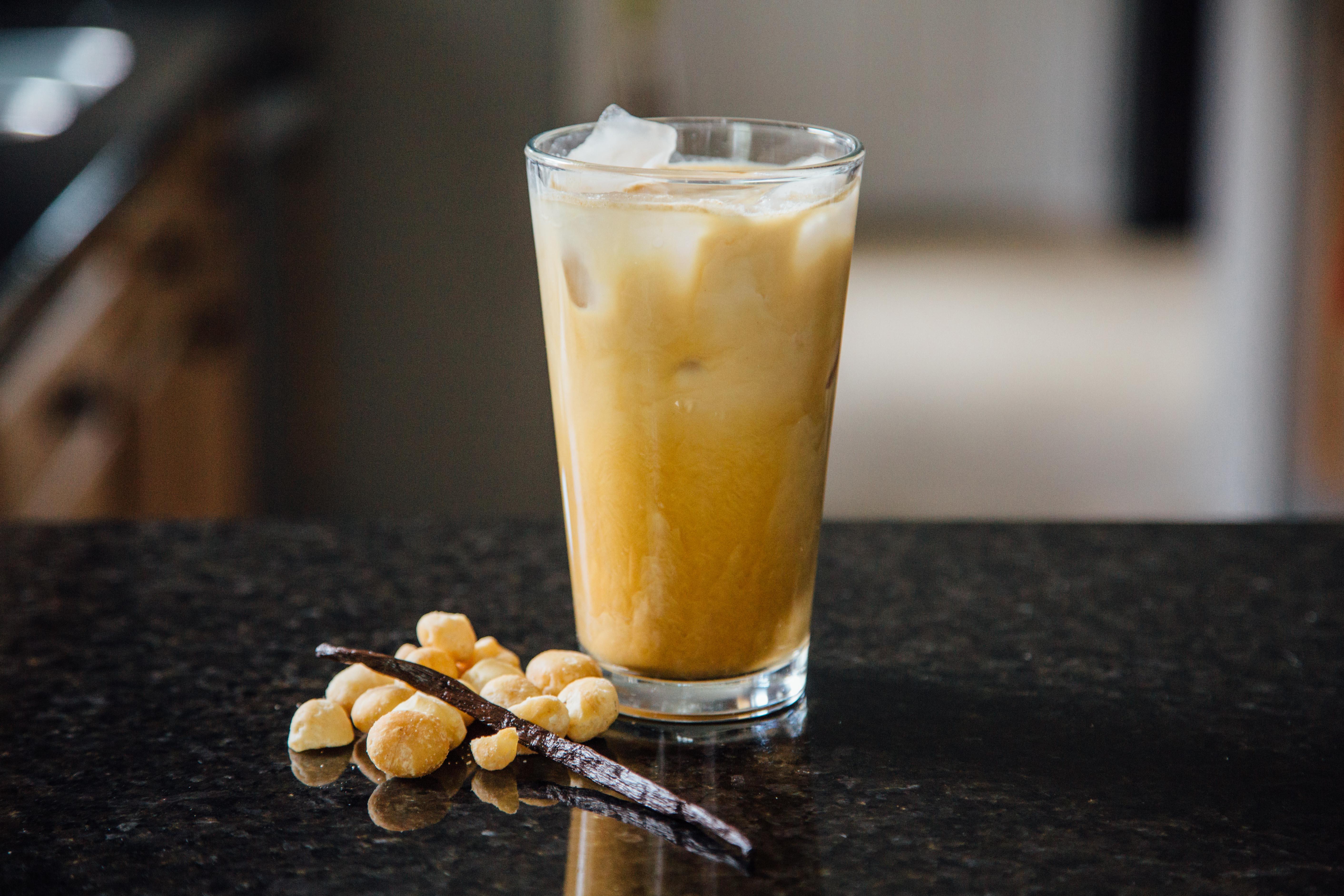 Iced coconut macadamia latte