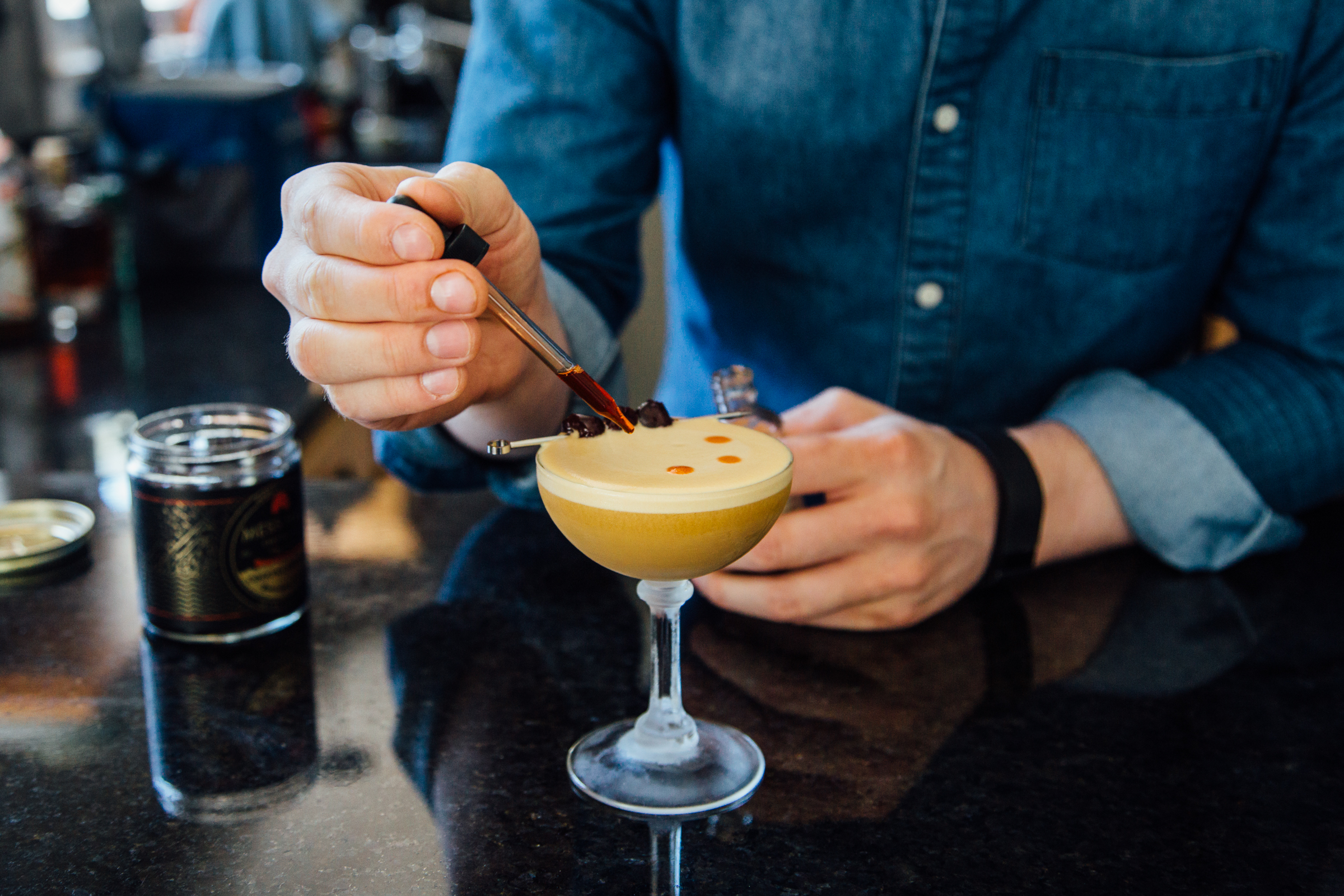 Garnishing the whisky sour