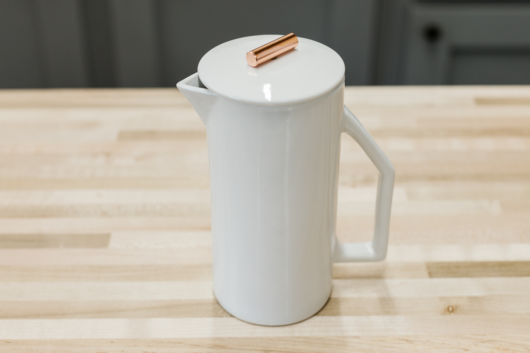 600 milliliter single-walled, white ceramic French press from Yield Design.