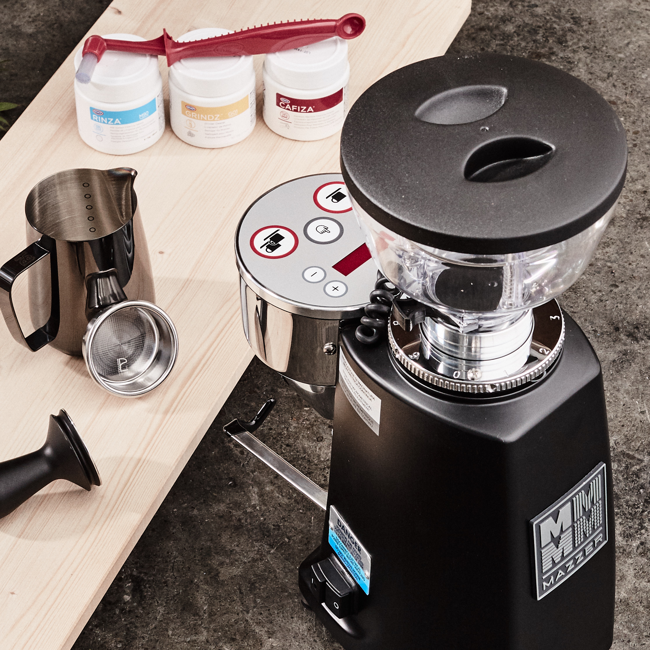 Espresso accessories and Mazzer grinder