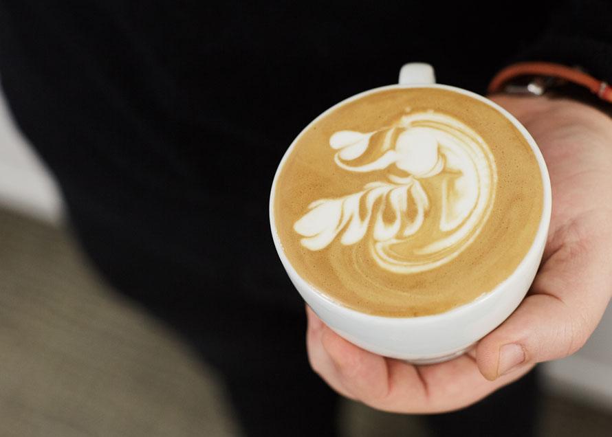 A swan design in latte art