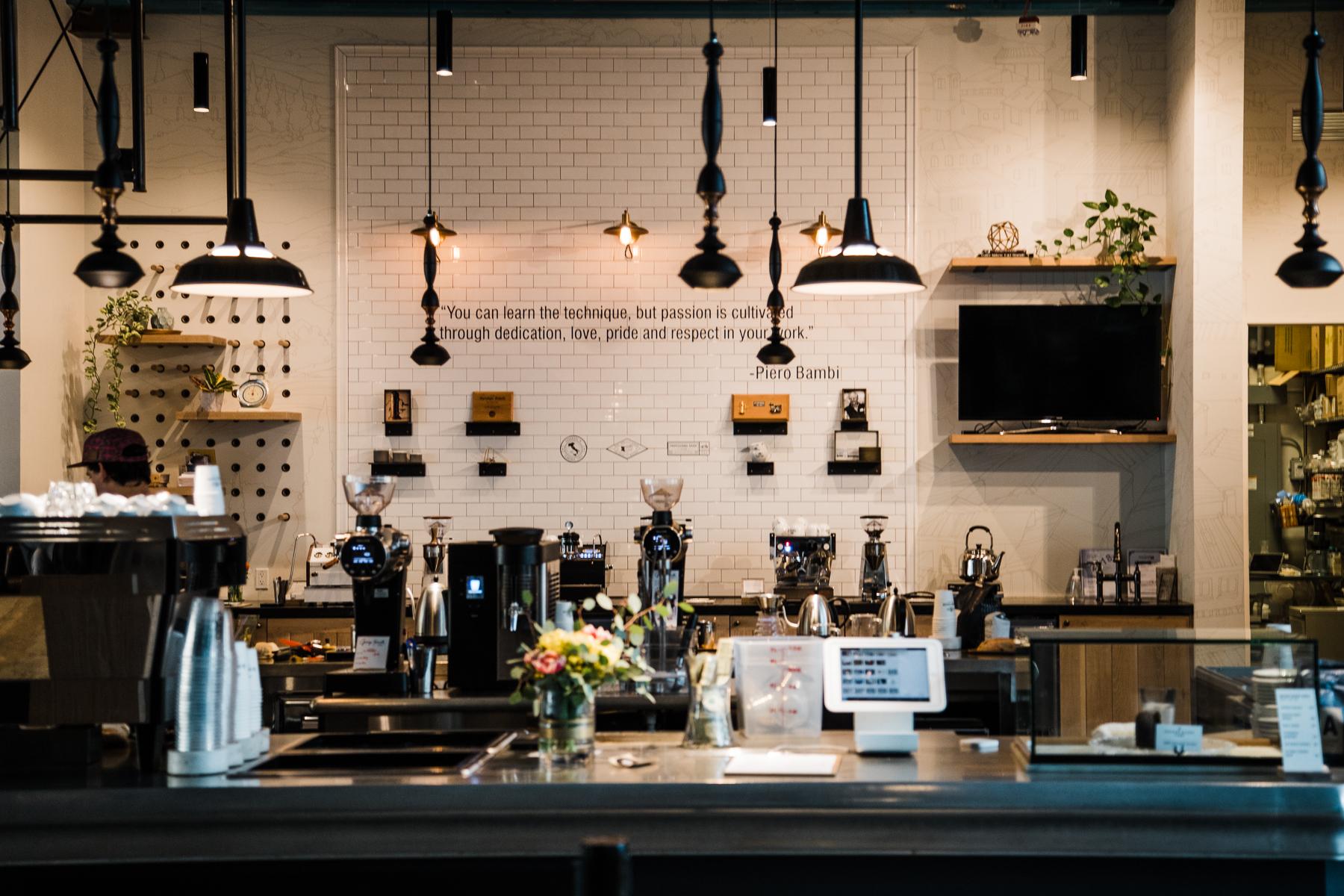 The espresso and brew bar at the La Marzocco Cafe in Seattle, Washington.