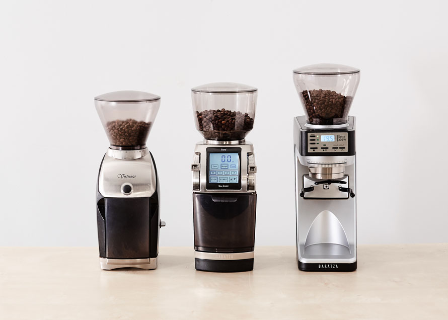 Virtuoso, Forte, and Sette full of coffee