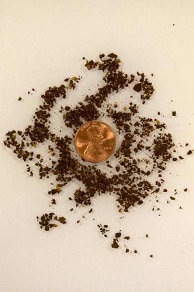 image of penny and very coarse grinds to demonstrate grind size