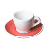 red porcelain saucer with white demitasse cup