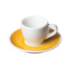 porcelain espresso cup on yellow hand-painted saucer