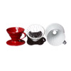 Hario V60 01 Drippers in glass, ceramic, and plastic