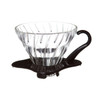Hario V60 01 glass dripper with black base