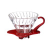 Hario V60 01 glass dripper with red base