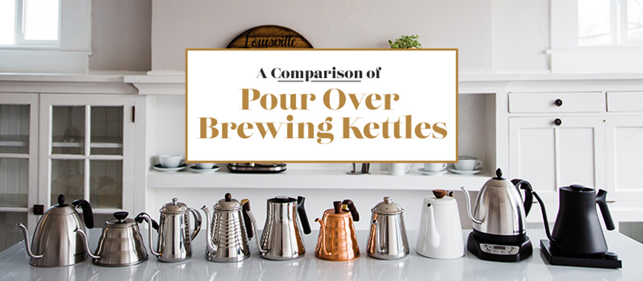 Ten kettles sitting on a counter