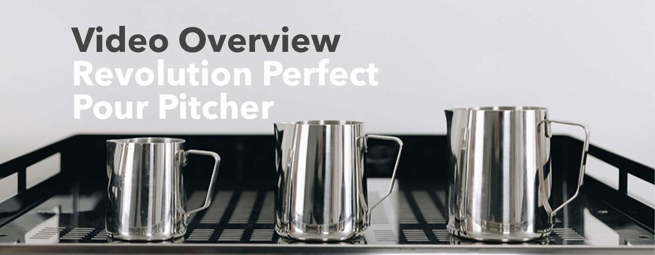 Three Revolution milk pitchers on an espresso machine