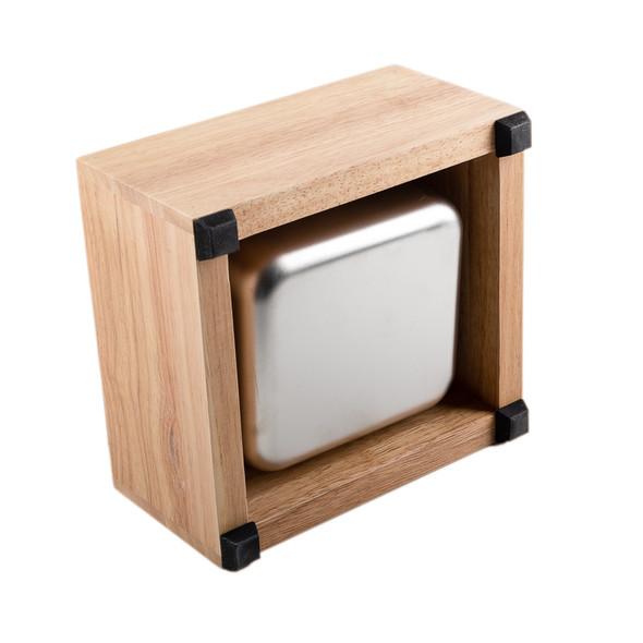 Open bottom of Revolution Knock Box Basic Wood Set against white background