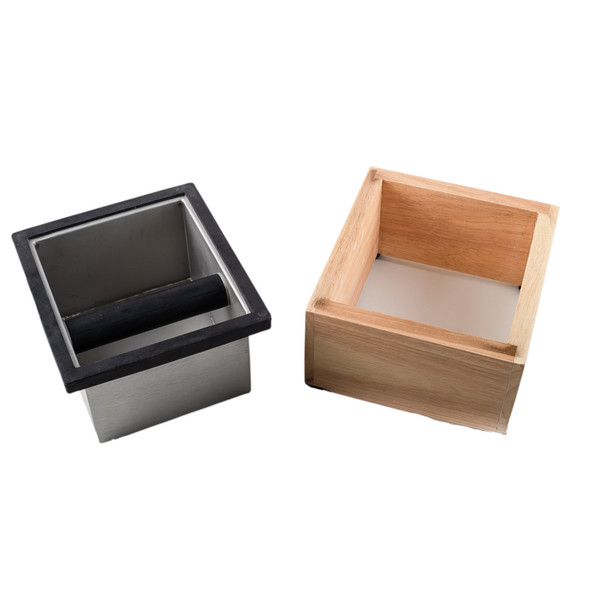 Stainless Steel Knock box next to Wood Box