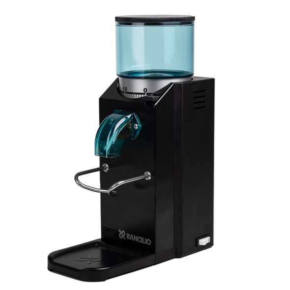 Black Rancilio Rocky Doserless Espresso Grinder angled view