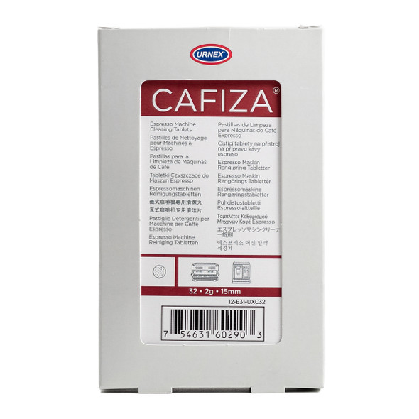 Front of Urnex Cafiza Espresso Machine Cleaning Tablets packet