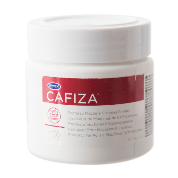 Jar of Urnex Cafiza espresso machine cleaning powder.