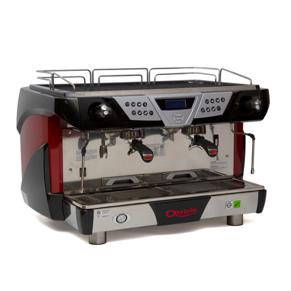 Astoria Plus 4 You 2 group automatic espresso machine front and side view.