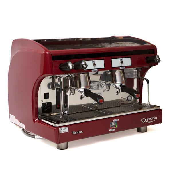 Astoria Perla A E P 2 group automatic espresso machine front-angled view.