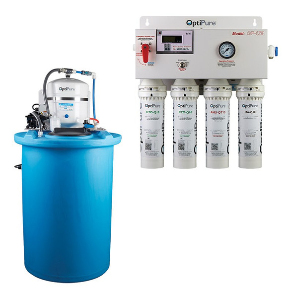 OptiPure O P 175/50 water treatment system with 50 gallon atmospheric storage tank.