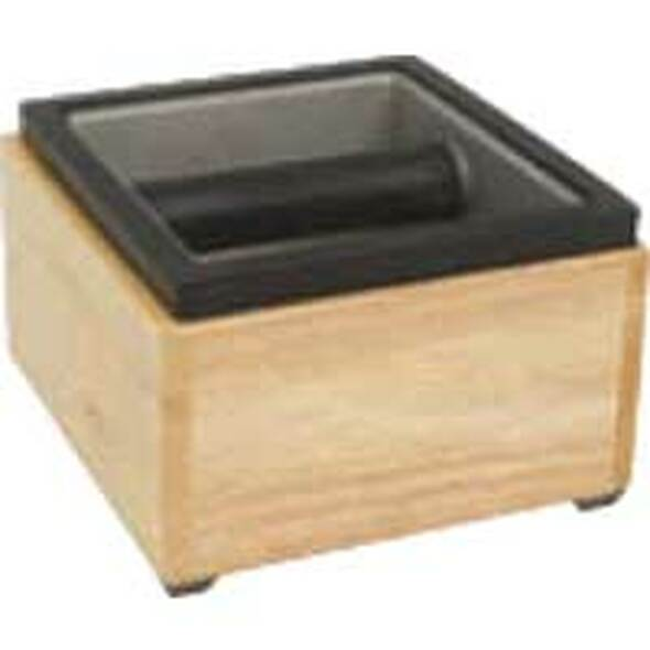 "Espresso Supply Rattleware Maple Knock Box Set, 6"" x 5.5"" x 4"" - 25620"