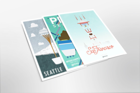 3-Pack West Coast Coffee Cities Posters
