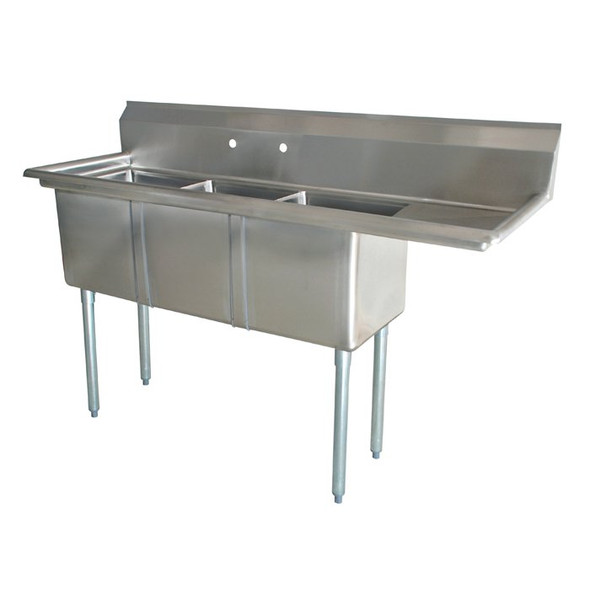 Atlantic Metalworks 18 x 18 x 12 3 Compartment 1 Drainboard Sink