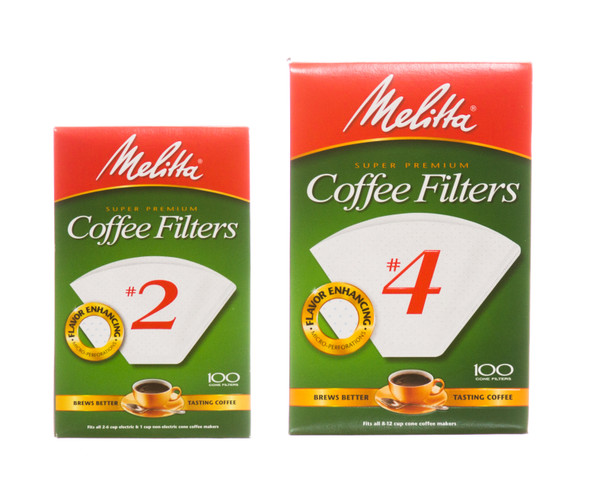 Melitta coffee filters size 2 and size 4