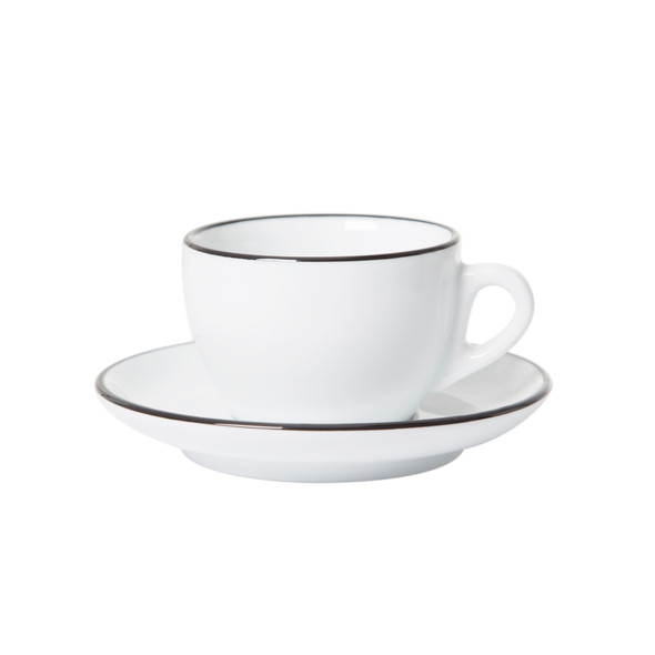 White cappuccino cup and saucer with black painted rim