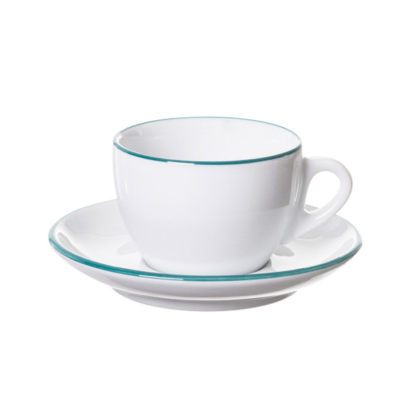 white cappuccino cup and saucer with teal painted rim