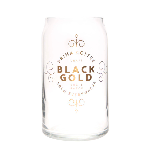 Prima Coffee Black Gold Drinking Glass