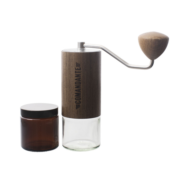The Comandante C 40 M K 3 Wenge Hand Grinder with extra grounds jar and lid on a white background.