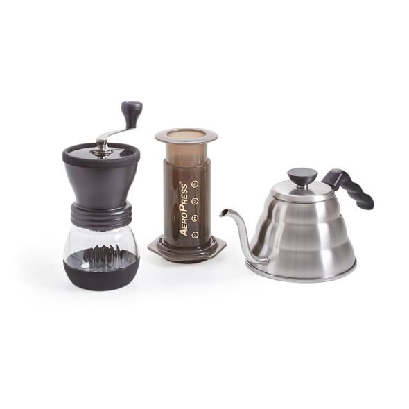 Prima Coffee, Camping with Coffee Bundle, AeroPress Coffee Maker, Hario Skerton Hand Grinder, Hario Buono Kettle