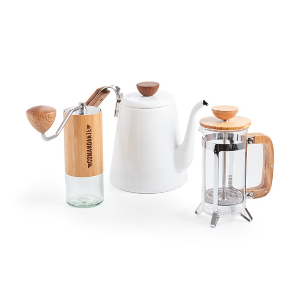 Prima Coffee, #coffeelife Bundle, Hario Olivewood Coffee Press, Comandante C40 Grinder, Hario Bona Enamel Kettle