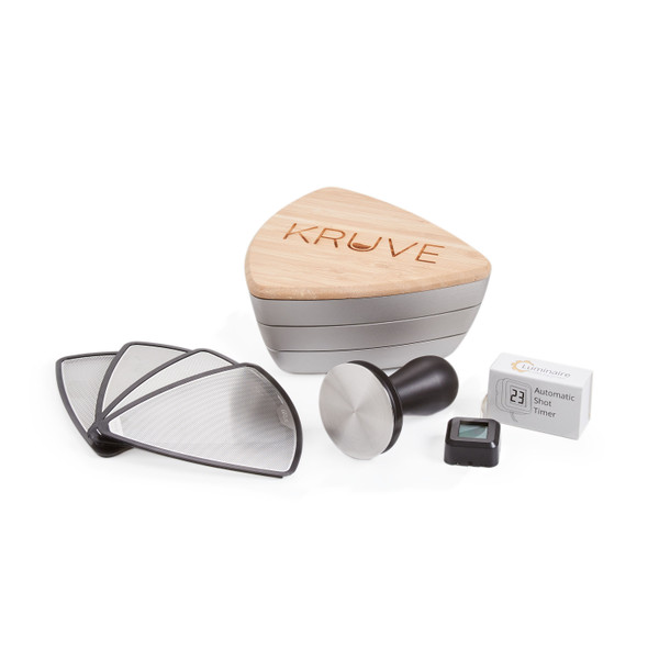 Prima Coffee, Coffee Enthusiast Accessory Bundle, Kruve Coffee Sifting System, Luminaire Automatic Shot Timer, Barista Hustle Tamper