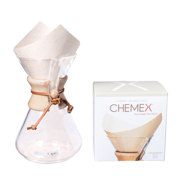 Chemex Bonded Natural Brown Coffee Filters, 100 count, with Chemex